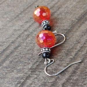 Honeycomb design orange crystal,earrings